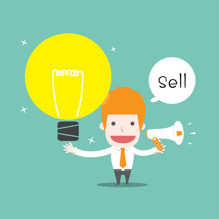 Sell ideas, Vector cartoon business Vector