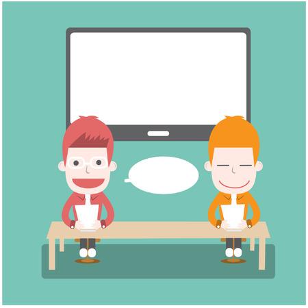 newsreader: Newsreader, Vector cartoon business