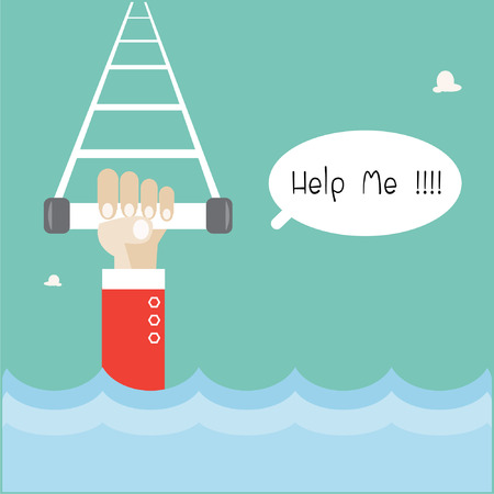 Hand with Help me text cartoon Illustration