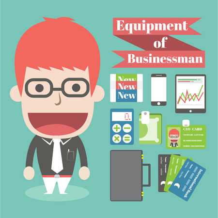 Equipment of businessman,Vector cartoon business Vector