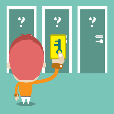 keycard: Keycard on hand for choose the right door,Vector cartoon business Illustration