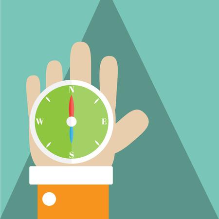 Compass on my hand,Vector cartoon business