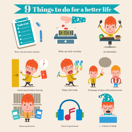 things to do: 9 Things to do for a better life Illustration