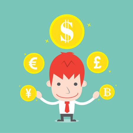 Businessman and foreign currency,Vector cartoon business