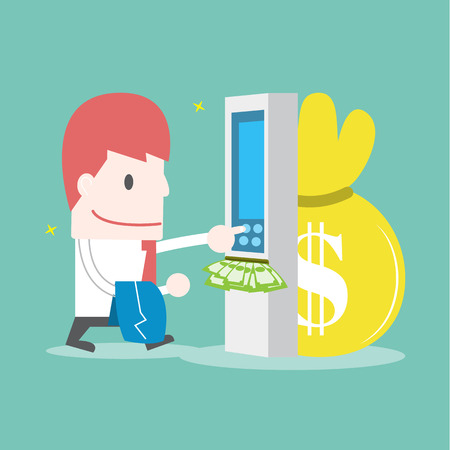 Zakenman die geld van creditcard bij geldautomaat