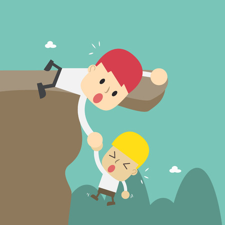 Helping hands to friend ,Vector cartoon business Illustration