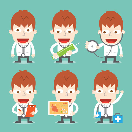 Doctor cartoon in various poses Illustration