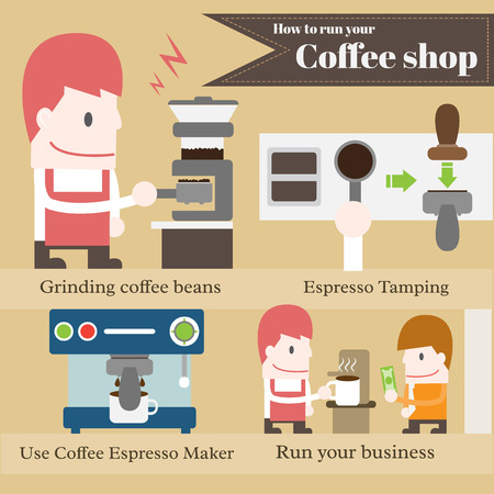 How to run your coffee shop cartoons Illustration