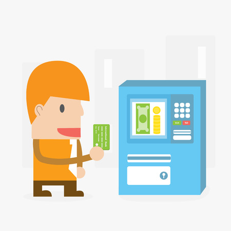 Businessman with Automated Teller Machine