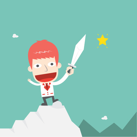conquer: Businessmen conquer the peak cartoon business Illustration