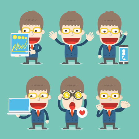 Businessman cartoon in various poses cartoon business Vector