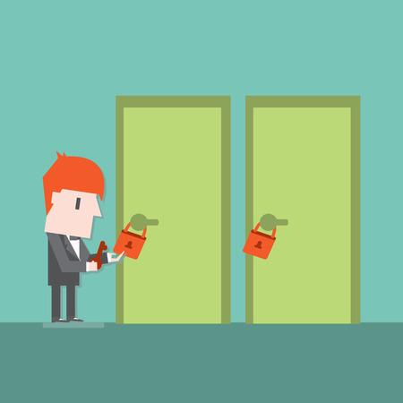 Open the door ,Vector cartoon business