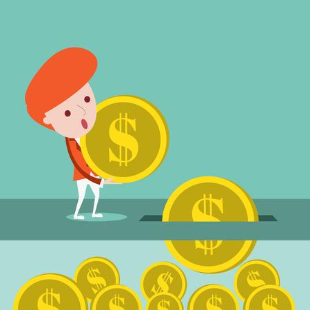 Businessman will saving money ,Vector cartoon business