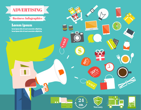 Advertising with businessman,Vector Infographic Elements