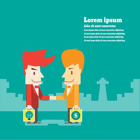 business meeting asian: Homme d'affaires se serrent la main pour beaucoup, affaires de dessin anim� Vecteur