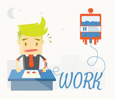 Businessman is sick in office,Vector cartoon business