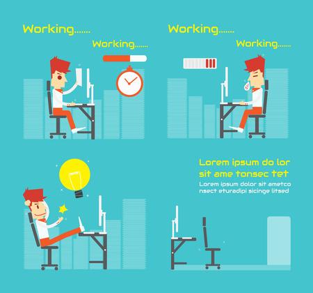 Work Hard , Vector cartoon business Vector