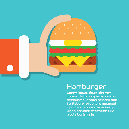 Hamburger , Vector cartoon business Illustration