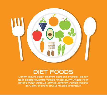 Diet Foods , Vector cartoon business Illustration