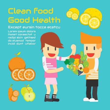 Clean Food Good salud, negocios de dibujos animados Vector