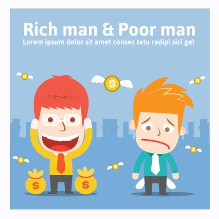Rich man & Poor man cartoon business Vector