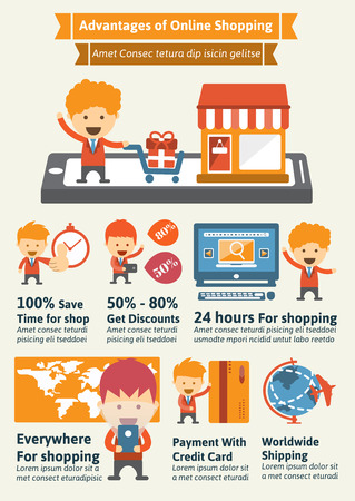 advantages: Advantages of Online Shopping Infographic Elements