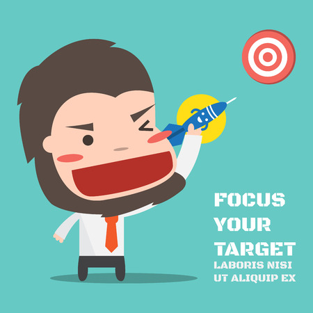 Darts to point to target,Vector cartoon concept abstract business