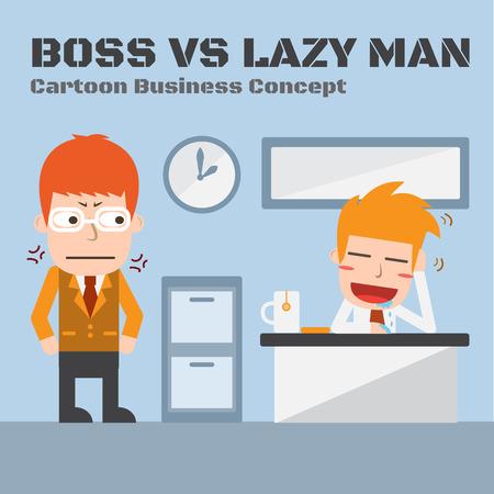 Boss And Lazy man,Vector cartoon business Illustration