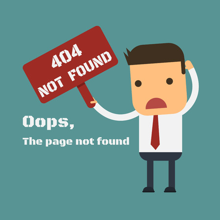 Businessman shows a message about Page not found Error 404, Vector cartoon concept abstract business Illustration