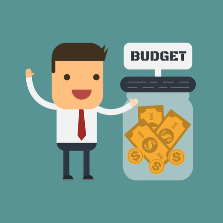 Businessman with his budget, Vector cartoon concept abstract business