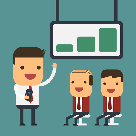 Young businessman presenting to their boss, Vector cartoon concept abstract business Illustration