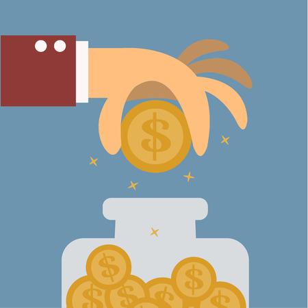 Big hand saving money,Vector cartoon concept abstract business Stock Illustratie