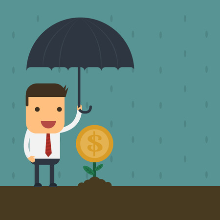protecting your business: Empresario proteger su dinero, Vector de dibujos animados concepto de negocio abstracto Vectores