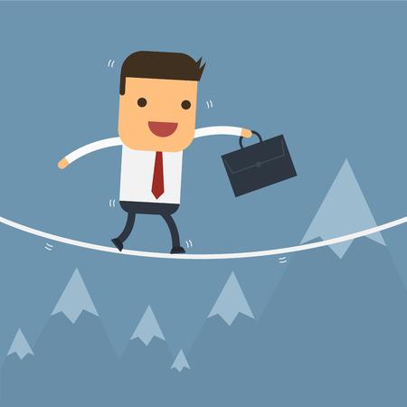 tightrope: Ondernemers lopen op het slappe koord, Vector cartoon concept abstracte zaken