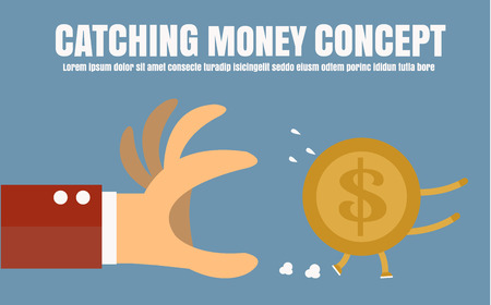Catching money,Vector cartoon concept abstract business Illustration