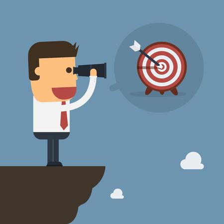 Businessman use binoculars seeing target,Vector cartoon concept abstract business