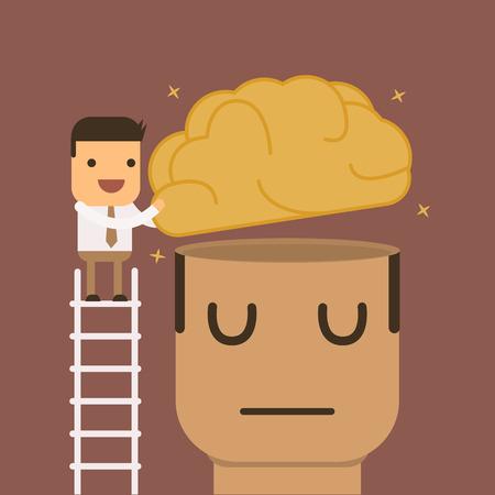 Businessmen is put brain in big head,Vector cartoon concept abstract business
