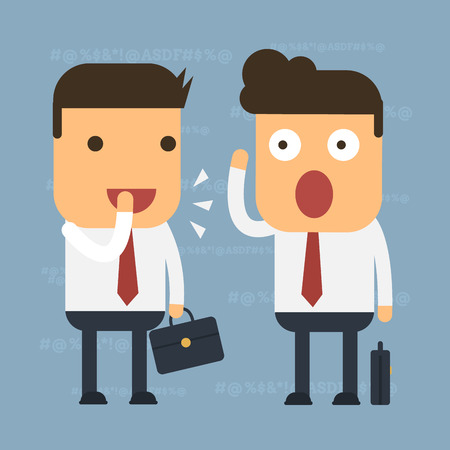 Two businessmen are gossip some people, Vector cartoon concept abstract business Illustration