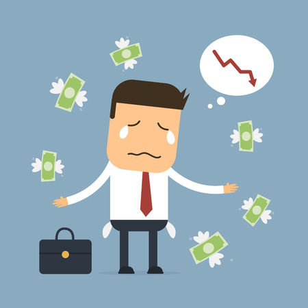 exchange loss: Businessman loss money,Vector cartoon concept abstract business