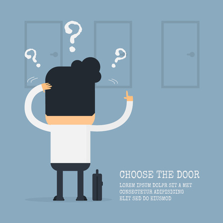confused person: Businessman choosing the right door,Vector cartoon concept abstract business