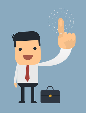 pressing: Businessman pressing buttons on the air,Vector cartoon concept abstract business Illustration