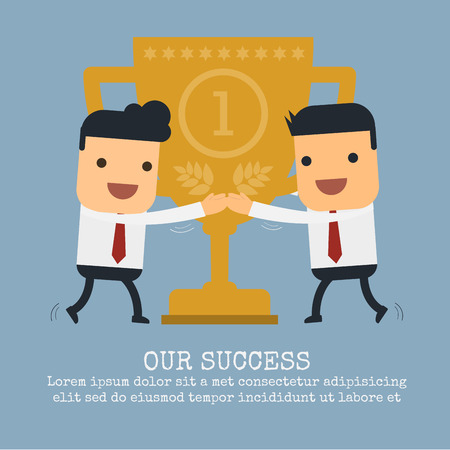 commendation: Two businessmen are hug a trophy,Vector cartoon concept abstract business