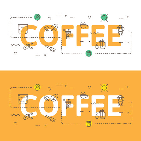 Line icons  illustration concept of words coffee and elements illustration concept for website , printing or infographics.