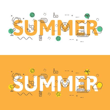 website words: Line icons illustration concept of words summer and elements illustration concept for website , printing or infographics. Illustration