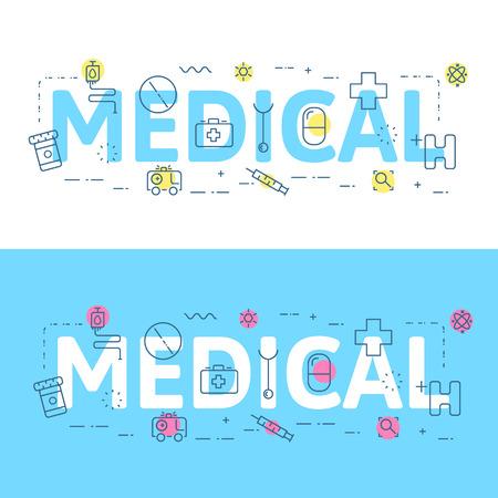 website words: Line icons illustration concept of words medical and elements illustration concept for website , printing or infographics. Illustration