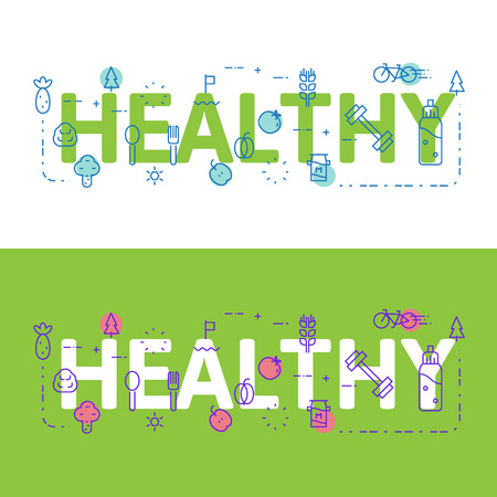 website words: Line icons illustration concept of words healthy and elements Vector illustration concept for website banner, printing or infographics. Illustration