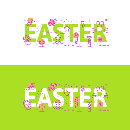 website words: Line icons illustration concept of words easter and elements illustration concept for website , printing or infographics.