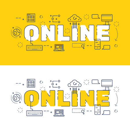 website words: Line icons design of words online and elements illustration concept for website , printing , book cover and corporate documents.