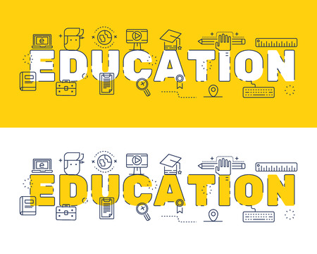 website words: Line icons design of words education and elements illustration concept for website , printing , book cover and corporate documents.