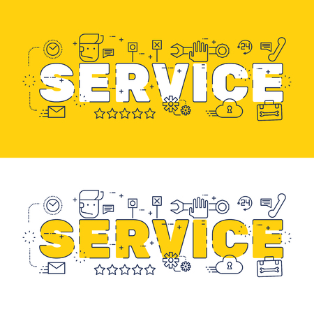 website words: Line icons design of words service and elements illustration concept for website , printing , book cover and corporate documents.